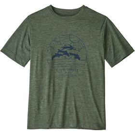 Patagonia Capilene Cool Daily SS Shirt Boys live simply porpoise boy/kale green x-dye
